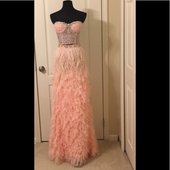 Mac Duggal Dresses | One Of A Kind 2 Piece Blush Feather Evening ...